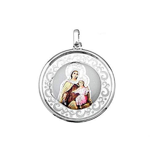 EMPATHY JEWELS Medalla Virgen del Carmen de Plata de Ley de 35 mm. Colgante Virgen del Carmen con Esmalte una Joya para Siempre.