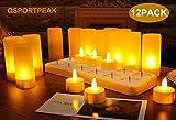 QSPORTPEAK 12er LED Flammenlose Wiederaufladbare Teelichter Kerzen, Kabellose Teelichter, LED-Weihnachtskerzen Kerzenlichter mit Ladestation, Für Party Hochzeit Hausgarten Outdoor Innendekoration