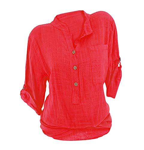 ORANDESIGNE Donna Camicetta Blusa Chiffon Elegante Camicia con Scollo V Cerniera Manica Regolabile Maglietta Top Rosso IT 46