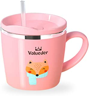 Baby Kids Toddler Sippy Cup Mug for Milk, Coffee, Stainless Steel Trainer Straw Cup with Lid, Fox, 7oz/Pink