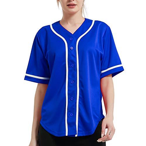 TOPTIE Women Baseball Jersey Hip Hop Hipster Button Down Baseball T Shirt-Blue White-2XL