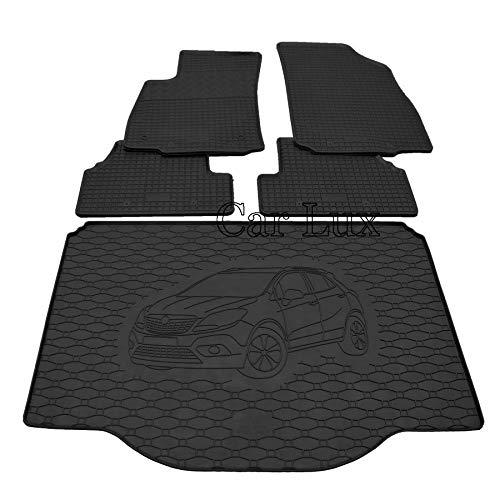 Car Lux AR00588 - Alfombra protector maletero + Alfombras alfombrillas de goma a medida para Opel Mokka X desde 2012-