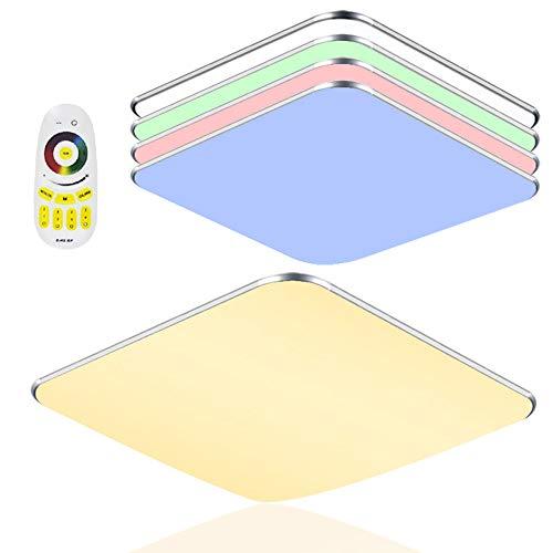 96W LED Deckenleuchte mit Fernbedienung RGB Dimmbar - Modern Ultraslim led panel deckenlampe - Küche Wohnzimmer Schlafzimmer Wandlampe (96W RGB)