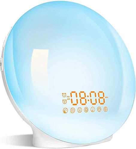 Wake Up Light LED, 2021 Despertador Luz Amanecer Simulación de Amanecer y Atardece, 2 Alarmas, 20 Niveles Brillo, 7 Luces de Colores 7 Sonidos Naturales, Función Snooze, Radio FM, Despertador Infantil