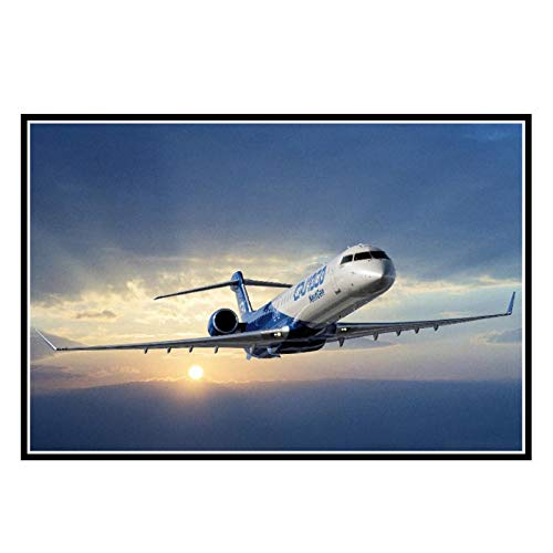 YCCYI Pesawat Bombardier Crj 700 Series Kain Sutra Kain Cetak Stiker Dinding Dekorasi Canvas Posters Decoration -20X28 Inch No Frame 1 Pcs