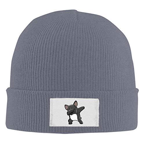 Unisex Skull Beanie Cap - French Bulldog-2 Cuff Knitted Hat - Daily Warm Slouchy Hats Deep Heather