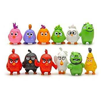HYSTYLE 12 Pcs Bird Figures Mini Angry Bird Figure Playset Toys Animal Bird Figure Characters Toys Mini Figure Collection Playset Cupcake Topper Cake Toppers Cake Decoration