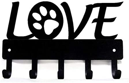 The Metal Peddler Love with Dog Paw 1 Key Rack Hanger Dog Leash Organizer Small 6 inch Wide product image