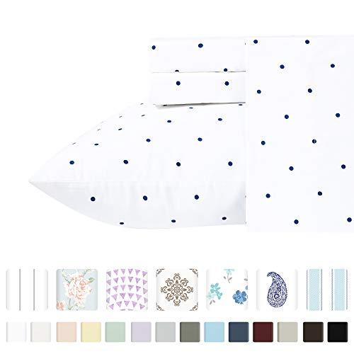 Luxury 400-Thread-Count 100% Pure Natural Cotton Sheet Sets - 4-Piece Navy Blue Polka Dot Full Size Sheet Set Long-Staple Premium Cotton Yarns Hotel Quality Fits Mattress 16'' Deep Pocket