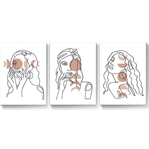 SUMGAR Boho Paint Woman Head Color Line Blanco y Negro Brewing Cube Lienzo Cuadro de Pared para decoración de Dormitorio Comedor Sala de Estar 30x40cm 3 Piezas