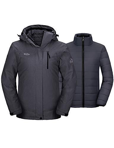 Wantdo Women's 3-in-1 Waterproof Ski Jacket Warm Hooded Winter Coat Dark Gray L