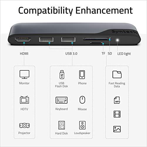 Syntech USB C Hub (5 in 1) mit HDMI 4K Adapter, USB 3.0 Anschlüsse, 1 SD und 1 microSD Kartenleser für MacBook Pro, MacBook Air 2020, iPad Air 4, iPad Pro 2020, Surface Go und mehr Type-C Geräte