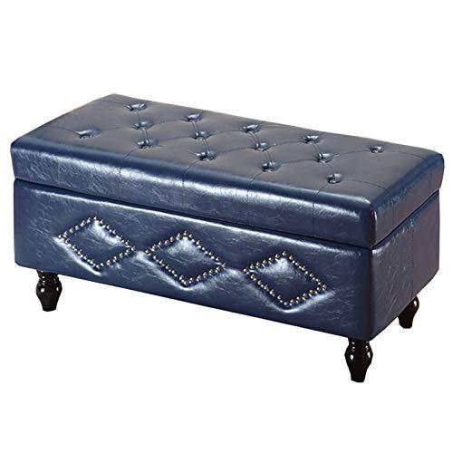 WHOJA Plegable Ottoman Banco de sofá Rectangular Cojín de PU Caja de Almacenamiento de Gran Capacidad Decoración de Remaches Vintage Teniendo Peso 150 kg Otomanos (Color : Blue, Size : 120cm/47in)