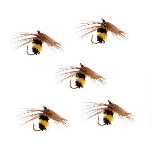 SM SunniMix 5 Piezas Abejorro NINFA Trucha Moscas Anzuelo Volador Cebo de Insectos Abeja Biónica