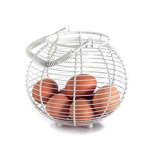 Design Drahtkorb Tisch Vintage-Stil rund / Küchen-Korb - Obst-Korb - Eier-Korb - Gemüse-Korb / Retro Metall-Korb mit Henkel / Durchm. 19cm / Höhe 15cm - Aufbewahrungskorb klein weiß Draht