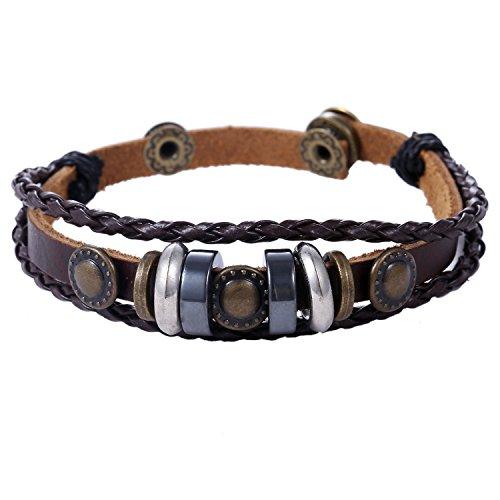 Morella Unisex Lederarmband geflochten braun mit Beads und Nieten