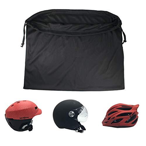 Casco de Motocicleta Bolsa Máscara de Soldadura Capucha Almacenamiento Bolsa de Transporte para Montar Bicicleta Deportes Herramienta Universal Hecha Nylon con cordón de Bloqueo 44 * 35 cm (Negro)