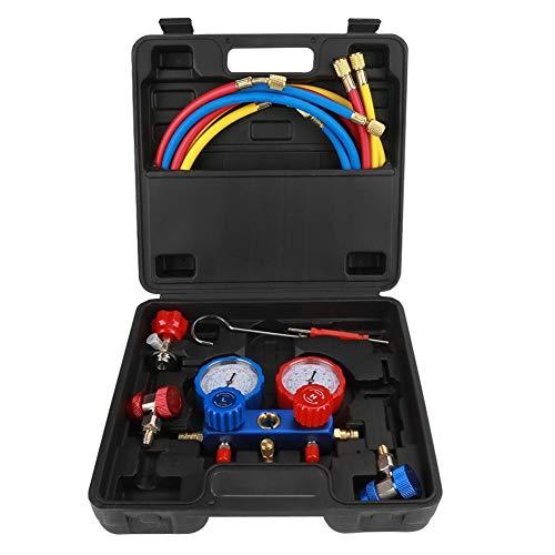 Klimaanlage Monteurhilfe Passt R134a Klimaanlage Kältemittel Manifold Gauge Set mit 1,5 m Lade Schläuche, Druckadapter, Adapter, Aufbewahrungskoffer und etc. r134a Manometersatz r134a Manometer r134a