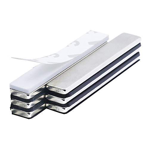 6 Stück Neodym Magnete, Super Stark Kräftig Neodym Viereckig Ziegel Magnete-60 x 10 x 3mm mit 8 Stück Selbstklebende, Seltenerdmagnete sehr starker Haftung für Glas-Magnetboards, Magnettafeln
