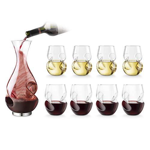 Final Touch Conundrum Bonus Drinking Set Carafe à Vin Blanc/Rouge Decanter Serving Set Aérateur de vin & DÉCANTEUR Ensemble de Service Verres à vin Blanc 266ml & Vin Rouge 473ml - Boxed Set Exclusif