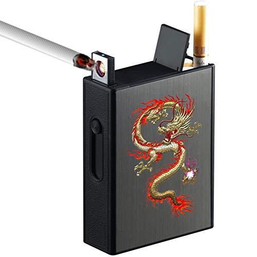VIY Pitillera Metálica, Pitillera De Aluminio 2 En 1, con Encendedor Eléctrico USB Recargable, Diseño Elegante, con Espacio para 20 Cigarrillos Normales, Portátil, Sin Gas