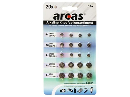 Batterie Arcas Knopfzellen-Set AG1-AG13 (20 Stk)