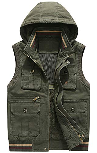 chouyatou Men's Outdoor Sports Hooded Sherpa Lined Multi Pocket Safari Work Vest Jacket (Large, Army Green)
