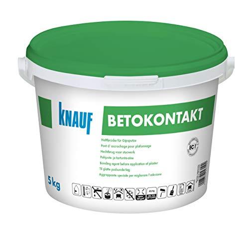 Knauf 4006379043194 Betokontakt, gebrauchsfertige Grundierung für Beton, verbessert die Haftung von Putzen, vor dem Auftragen von Gips, Gipsdünn-und Gipskalkputzen, Rot, 5 kg
