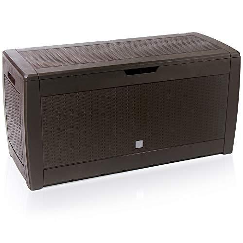Deuba Baúl de almacenaje Marrón Cofre con Capacidad de 310L arcón Banco Almacenamiento Polipropileno contenedor de jardín
