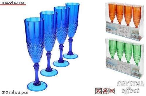 Hogar y Más - Copa para el Cava o Champán Colorida y Elegante en Set de 4 Edición AquaColor - Naranja