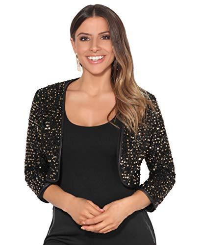 KRISP Bolero Elegante Mujer Fiesta Torera Talla Grande Punto Boda Blazer Traje Americana Chaqueta para Vestido, Dorado - (7363), 38 EU (10 UK), 7363-GLD-10