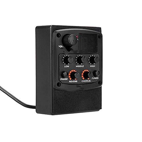 Mini-Piezo-Wandler GT-5 Akustikgitarre-Vorverstärker Piezo-Tonabnehmer 3-Band EQ Equalizer LCD Tuner mit Reverb/Chorus Effekte Schwarz Abholkontakt (Color : Black, Size : One Size)