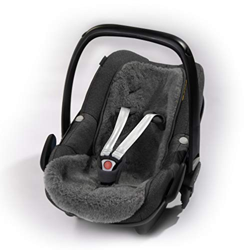 Baby Merino Universaleinlage, Einlage für Kindersitz, Babyschale, Babytrage, Kinderwagen, Buggy, Flor aus 100% Schurwolle mit 9 Schlitze für Haltegurte, Alternative zu echtes Lammfell, Grau
