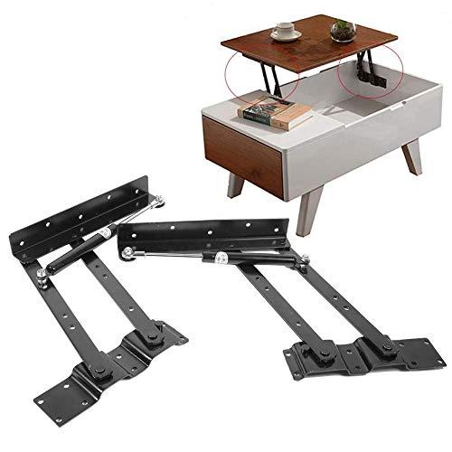 LYX Hydraulique Tampon Table Basse de Levage Rack, Table Basse Table à Manger à Double Usage Lifter, Accessoires de matériel Table Multifonctions (Color : Black)