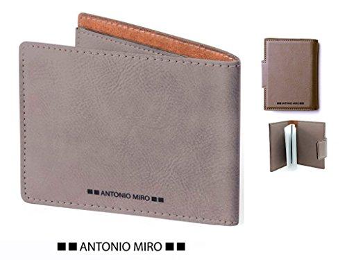 Juego 2 piezas, cartera piel y tarjetero piel MARRÓN CLARO ANTONIO MIRO