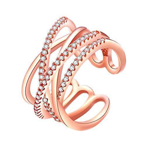 Goddesslili Criss Cross X Ring for Women Girlfriend Diamonds Elegent Designed Rose Gold Vintage Retro Wedding Engagement Anniversary Jewelry Gift for Love Under 5 Dollars (Gold)