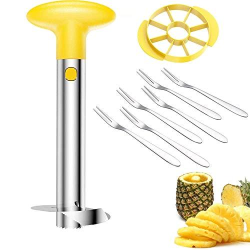SLKIJDHFB Pineapple corer, Stainless Steel 3-in-1 Pineapple Peeler Slicer tool Detachable Wedge and 6 Fruit Forks for home and kitchen