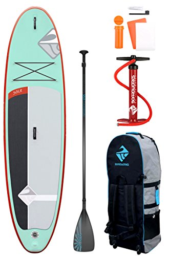 Boardworks SHUBU Solr Inflatable Standup Paddle Board (iSUP) | SUP Package Includes Rolling Backpack, Pump and Three Piece Paddle | 10'6, 848201015436, White/Grey/Light Green