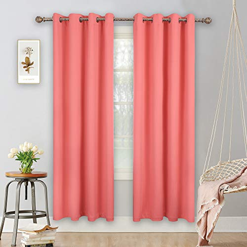 YGO Coral Blackout Curtains for Bedroom 2 Panels Set Room Darkening Drapes Thermal Insulated Solid Grommets Window Treatment Pair for Nursery Living Room W52xL84 inch