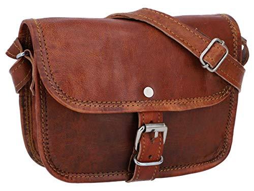Gusti Handtasche Leder - nature Handtasche Mary S kleine Umhängetasche braune Lederhandtasche im Vintage Look retro Damen
