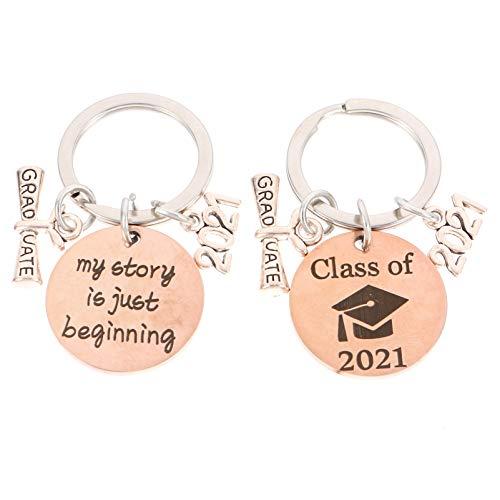 WINOMO 2pcs Creative Graduation Key Chains Bag Keys Hanging Ornament Keychain 2021 Graduation