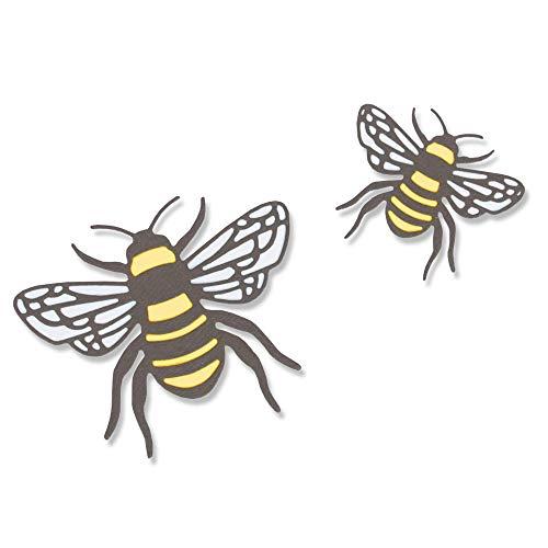 Sizzix Thinlits Stanzschablonen 4 Stk 663852, Biene von Lisa Jones, Mehrfarben, Einheitsgröße
