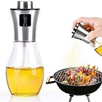 料理用オリーブオイルスプレー 詰め替え可能 オイルスプレーガラスボトル バーベキュー/ベーキング/ロースト用 200mlボトルオイルディスペンサー グリルオイル/ビネガー/野菜オイル/セサミオイル用