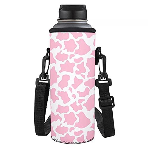 Coloranimal Bolsa de neopreno con estampado de vaca rosa para botella de agua con aislamiento para botella de agua, funda de bolsa con correa ajustable para el hombro