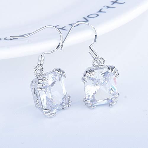 Blue Topaz Gemstone Drop Earrings 925 Sterling Silver Ruby Emerald Earrings Jewelry For Women Wedding Gift A
