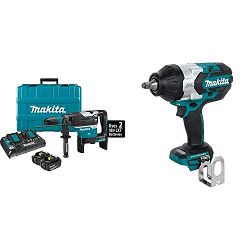 "Makita XRH07PTUN 18-Volt X2 LXT Brushless Cordless 1-9/16"" AVT Rotary Hammer Kit, AFT, AWS (5.0Ah) with XWT08Z 18-Volt LXT Lithium-Ion Brushless Cordless High-Torque 1/2 in. Sq. Drive Impact Wrench"