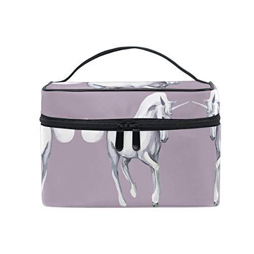 Caballo Blanco Unicornio Púrpura Sac Cosmétique Organisateur Fermeture à Glissière Sacs Trousse de Maquillage Pochette Cas de Toilette pour Voyage Les Femmes Filles