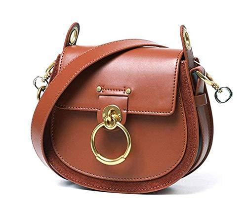 mlhk Satteltasche Für Frauen Umhängetasche Umhängetaschen Leder Designer Large Tote Echtmetallring Clutch Bag,Brown-OneSize