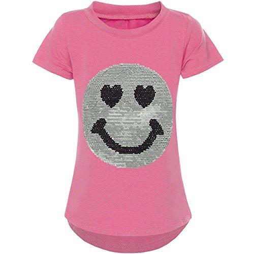 BEZLIT Kurzarm Mädchen T-Shirt Wende-Pailletten Motiv Glitzer Bluse 21287 Rosa Größe 140