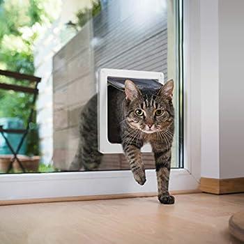 Chatière pour Chat avec magnétique à 4 voies, porte pour animaux de compagnie pour chats et petits chiens, porte pour chat avec tunnel Blanc 18 x 19 x 5.5 cm